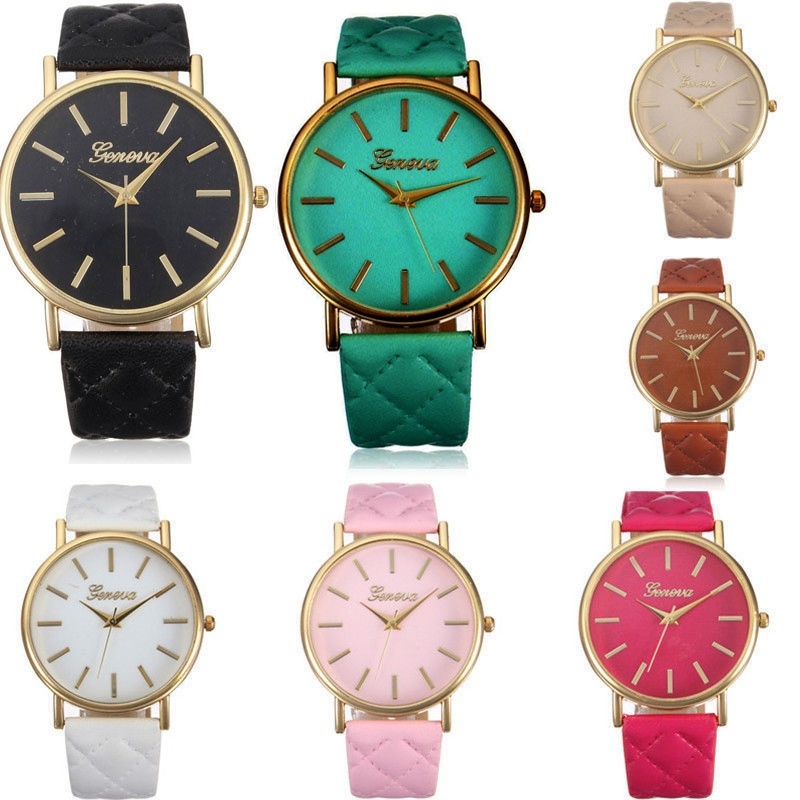 Fashion Women Casual Geneva Roman Leather Band Analog Quartz Wrist Watch