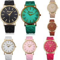 Fashion Women Casual Geneva Roman Leather Band Analog Quartz Wrist Watch-2