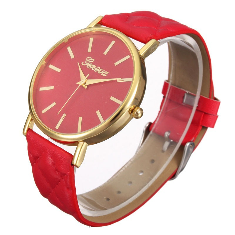 Fashion Women Casual Geneva Roman Leather Band Analog Quartz Wrist Watch-12