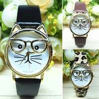 W9rn-Women Men's Fashion Cute Glasses Cat Case Leather Strap Bracelet Analog Quartz Casual Cool Wrist Watch