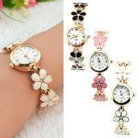 WFoD-Korean Women Girl Fashion Daisies Flower Rose Golden Bracelet Wrist Watch