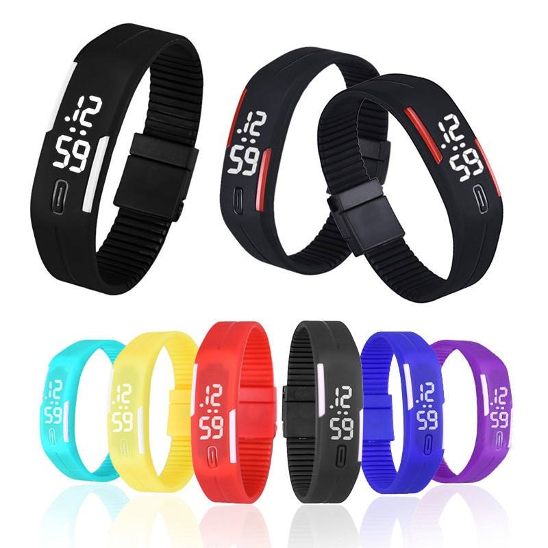 Men Women Rubber LED Watch Date Sports Bracelet Digital Wrist Watch