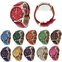 WUCl-Fashion Geneva Roman Numerals Faux Leather Analog Quartz Women Wrist Watch