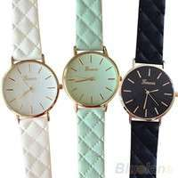Wd6t-Men's Women's Fashion Geneva Checkers Leather Strap Dial Quartz Casual Bracelet Watch