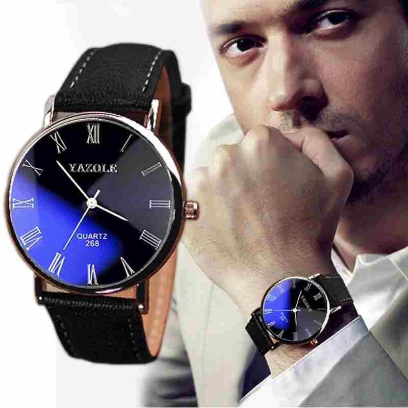 Luxury Fashion Faux Leather Mens Quartz Analog Watch Watches At a loss!!!