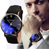 WhOA-Luxury Fashion Faux Leather Mens Quartz Analog Watch Watches At A Loss!!!