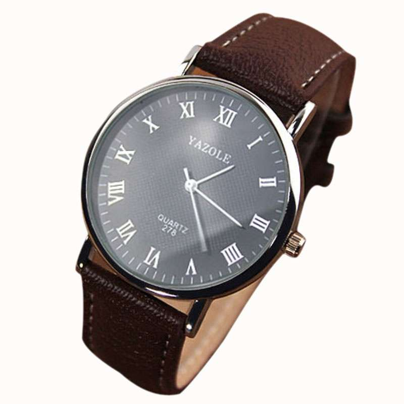 Luxury Fashion Faux Leather Mens Quartz Analog Watch Watches At a loss!!!-1
