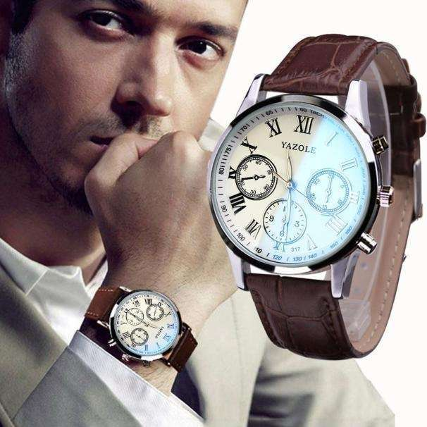 Luxury Fashion Faux Leather Mens Quartz Analog Watch Watches At a loss!!!-16