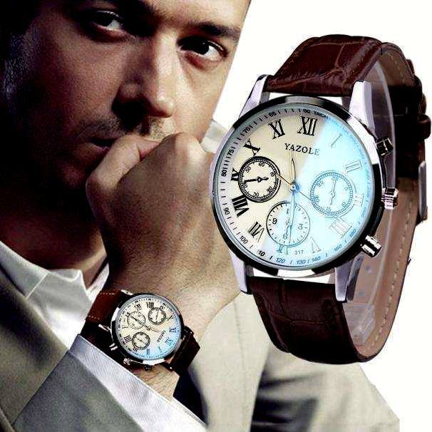 Luxury Fashion Faux Leather Mens Quartz Analog Watch Watches At a loss!!!-17
