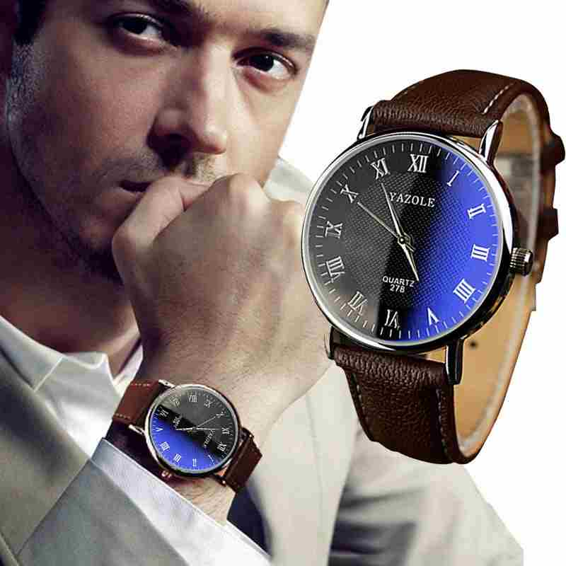 Luxury Fashion Faux Leather Mens Quartz Analog Watch Watches At a loss!!!-19