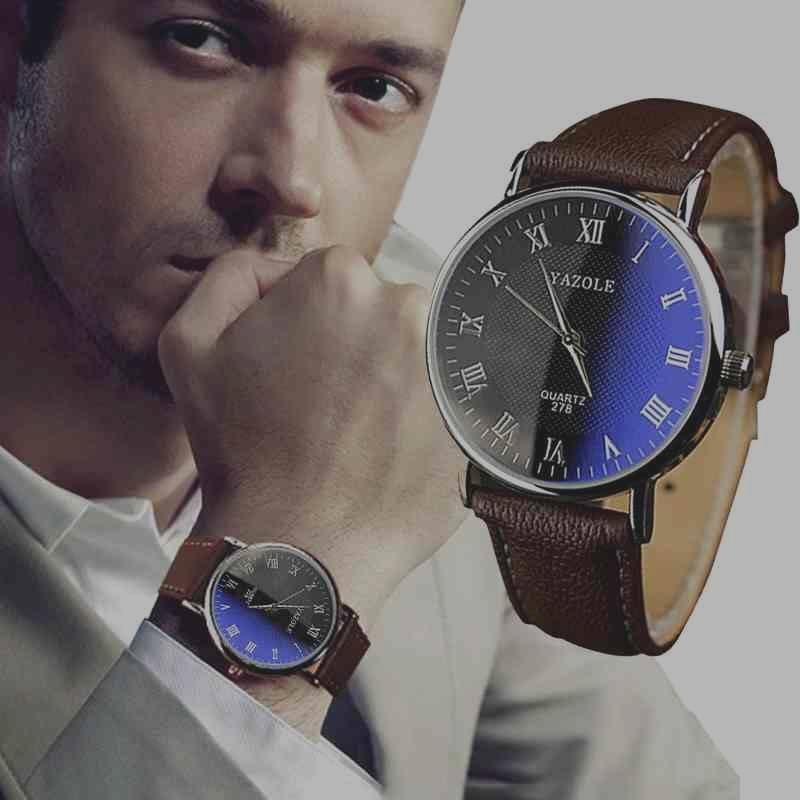 Luxury Fashion Faux Leather Mens Quartz Analog Watch Watches At a loss!!!-7