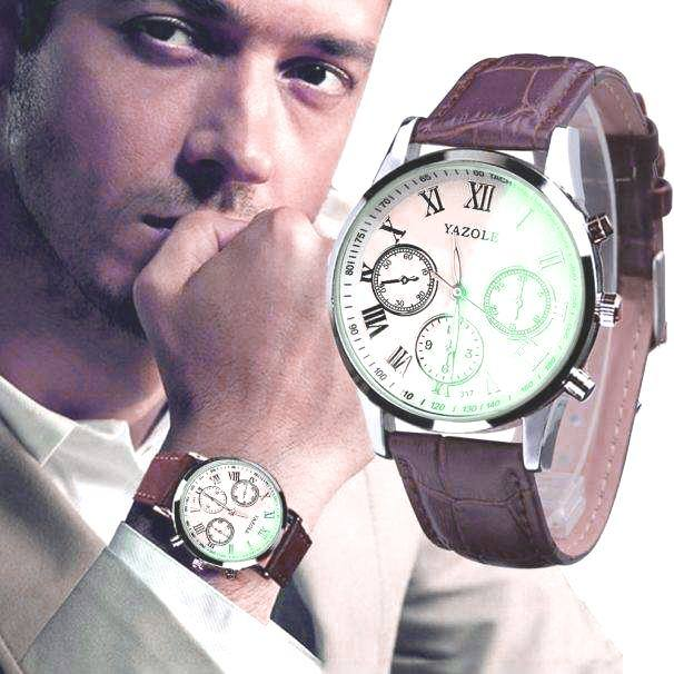 Luxury Fashion Faux Leather Mens Quartz Analog Watch Watches At a loss!!!-8