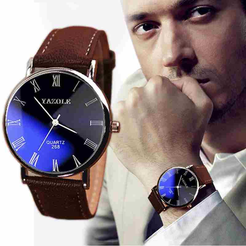 Luxury Fashion Faux Leather Mens Quartz Analog Watch Watches At a loss!!!-9