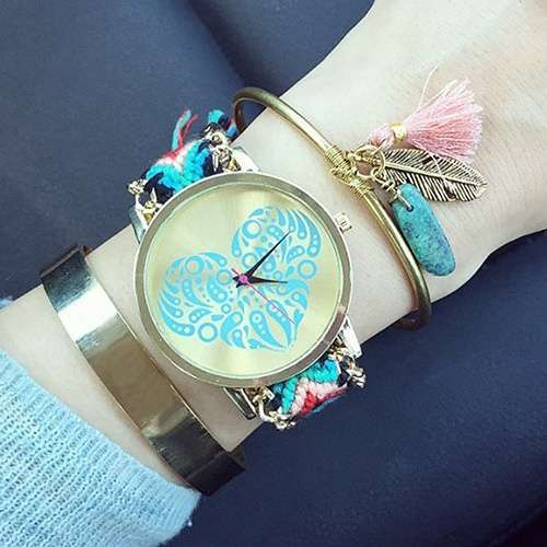 Women's Ethnic Love Heart Golden Tone Dial Knitted Rope Alloy Band Wrist Watch-1