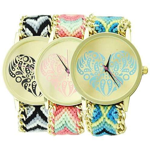 Women's Ethnic Love Heart Golden Tone Dial Knitted Rope Alloy Band Wrist Watch-2
