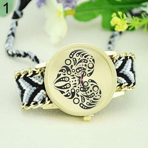 Women's Ethnic Love Heart Golden Tone Dial Knitted Rope Alloy Band Wrist Watch-3