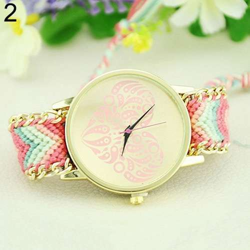 Women's Ethnic Love Heart Golden Tone Dial Knitted Rope Alloy Band Wrist Watch-4