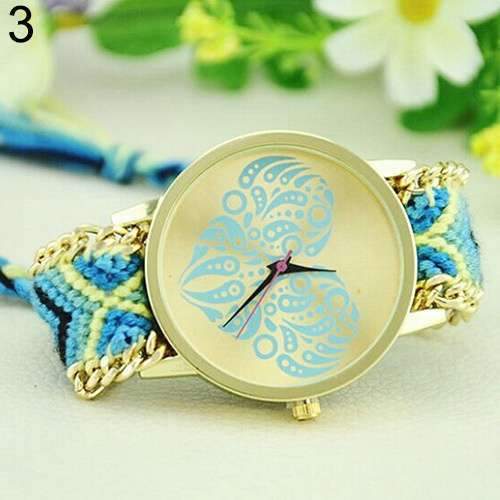 Women's Ethnic Love Heart Golden Tone Dial Knitted Rope Alloy Band Wrist Watch-5