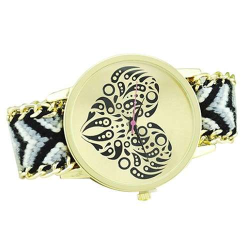 Women's Ethnic Love Heart Golden Tone Dial Knitted Rope Alloy Band Wrist Watch-7