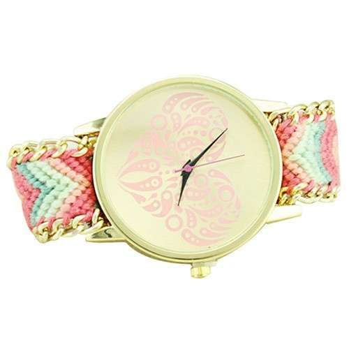 Women's Ethnic Love Heart Golden Tone Dial Knitted Rope Alloy Band Wrist Watch-8