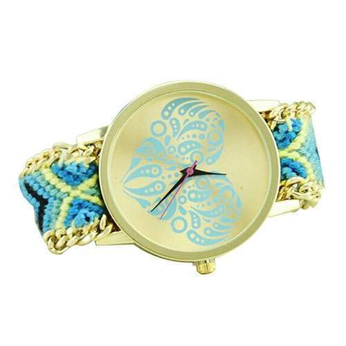 Women's Ethnic Love Heart Golden Tone Dial Knitted Rope Alloy Band Wrist Watch-9