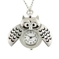 WklD-Owl Shape Pocket Watch Pendant Analog Necklace Chain Women Watches
