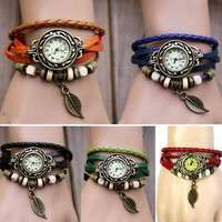 WqEk-Women Bracelet Vintage Weave Wrap Quartz Leather Leaf Beads Wrist Watches