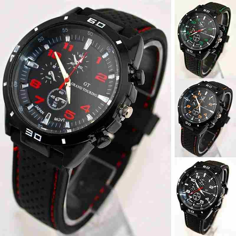 Men Cycle Racing Stainless Steel Watch Sport Wrist Watch