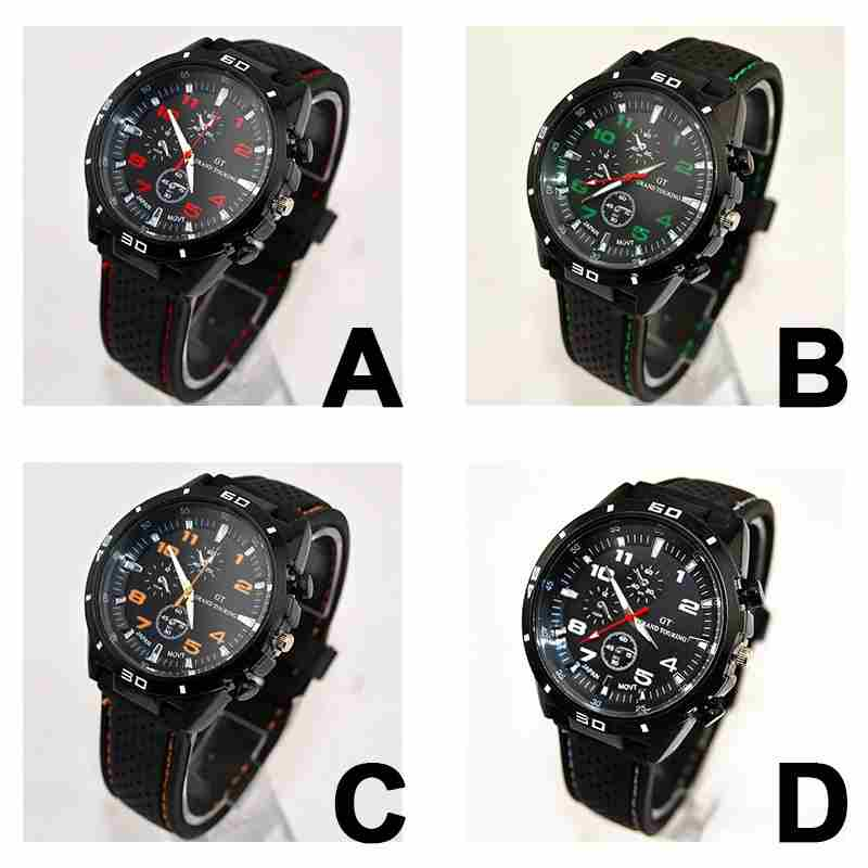 Men Cycle Racing Stainless Steel Watch Sport Wrist Watch-8