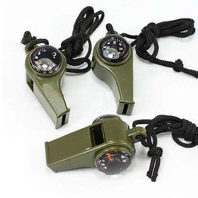 New 3 in1 Camping Outdoor Sports Camping Hiking Survival Emergency Gear Whistle Thermometer