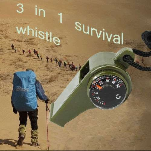 New 3 in1 Camping Outdoor Sports Camping Hiking Survival Emergency Gear Whistle Thermometer-4