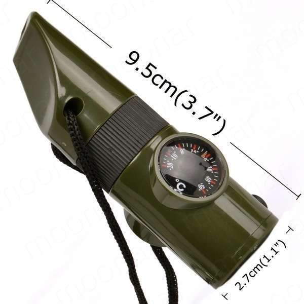 Survival Whistle Compass Thermometer Magnifier Camping Emergency Safety Tools-5