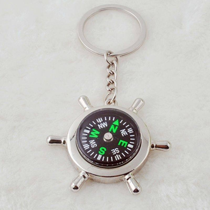 Compass Rudder Helm Key Ring Chain Key chain Key fob Gift-1