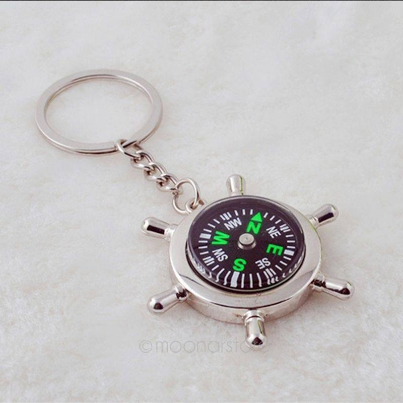 Compass Rudder Helm Key Ring Chain Key chain Key fob Gift-2