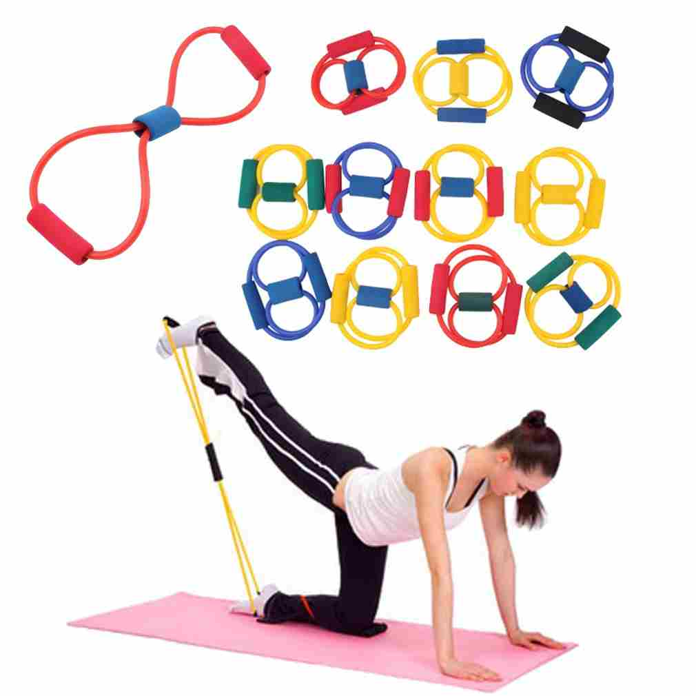 Resistance Band Yoga Pilates Abs Exercise Stretch Fitness Tube Workout Bands(Color:Random) (Color: Multicolor)