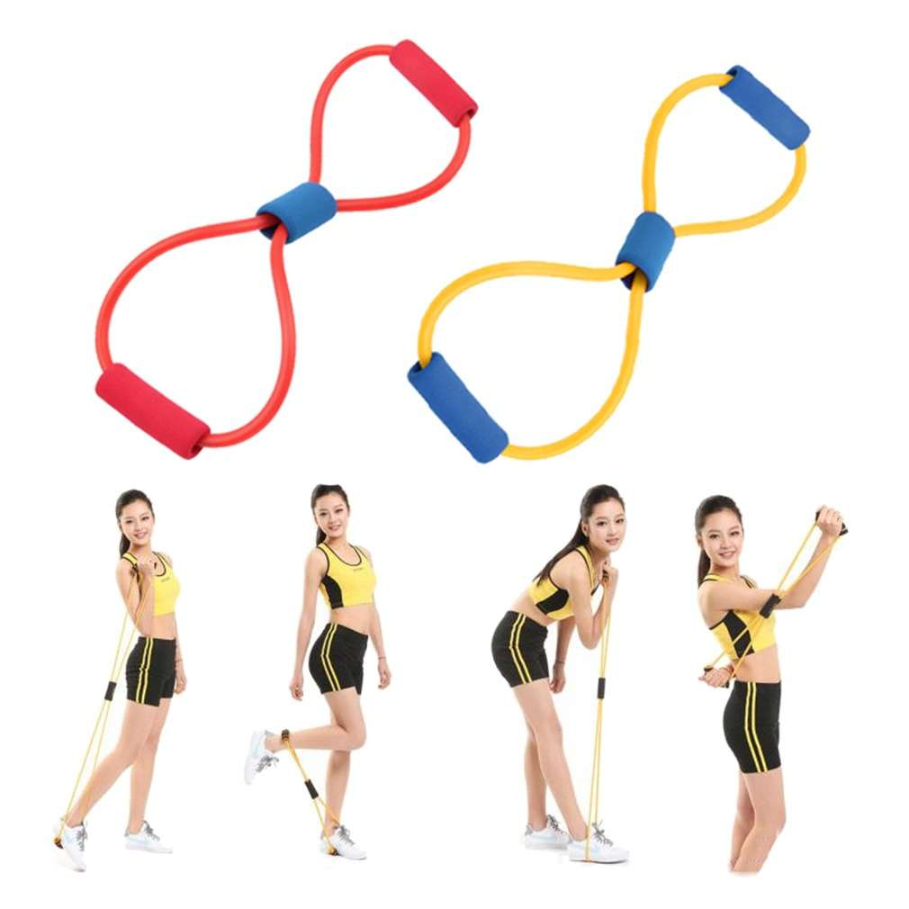 Resistance Band Yoga Pilates Abs Exercise Stretch Fitness Tube Workout Bands(Color:Random) (Color: Multicolor)-10