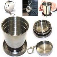 XazV-75mL Mini Stainless Steel Portable Travel Folding Collapsible Cup Telescopic