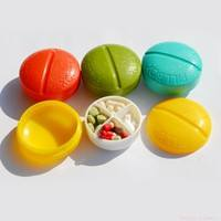 YdSe-4 Grids Portable Creative Cute Round Mini Pill Box Container