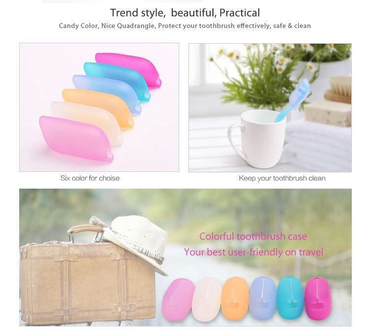 3 Pcs Set Fashion Colorful Silicone Toothbrush Case Cover For Travel Hotel On Business Tip-1