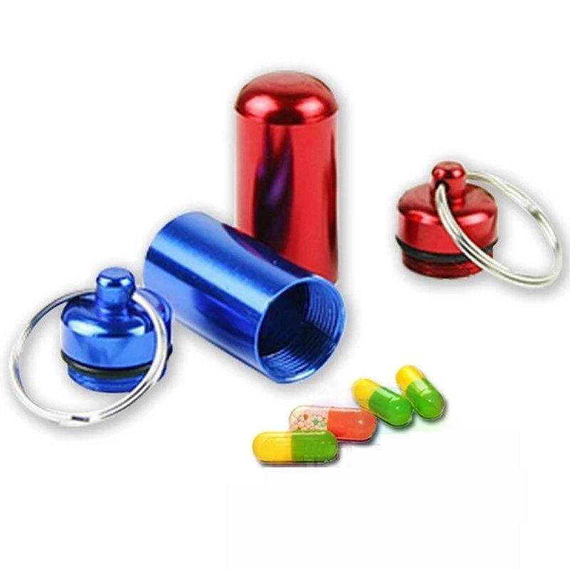 Mini Aluminum Emergency Pill Box Case Bottle Holder Container Key chain Key ring Waterproof Convenient Hot