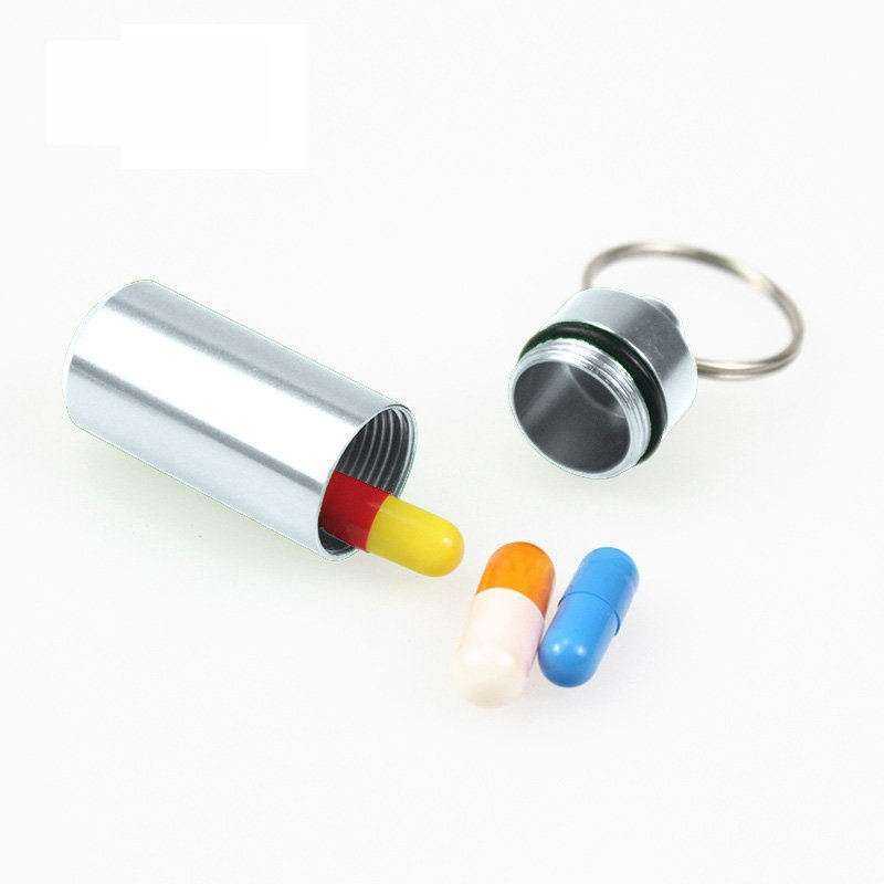 Mini Aluminum Emergency Pill Box Case Bottle Holder Container Key chain Key ring Waterproof Convenient Hot-1
