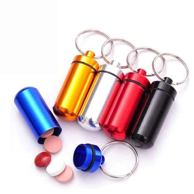 Mini Aluminum Emergency Pill Box Case Bottle Holder Container Key chain Key ring Waterproof Convenient Hot-5