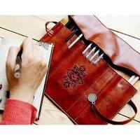 b2l1-Sale Cosmetic Make Up Pen Pencil Retro Leather Pouch Purse Bag Case