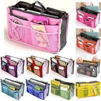 b3mq-Dual Zipper Portable Multi-function Nylon Bag In Bag Handbag Cosmetic Storage Bag Organizer Travel Bag Pouch