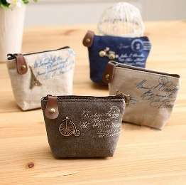 Women Girls Retro Canvas Coin Purse With Different Mental Decorations Change Cards Bag 4 Colors Fashion Wallets