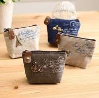 bHk8-Women Girls Retro Canvas Coin Purse With Different Mental Decorations Change Cards Bag 4 Colors Fashion Wallets