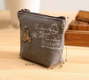 Women Girls Retro Canvas Coin Purse With Different Mental Decorations Change Cards Bag 4 Colors Fashion Wallets-1