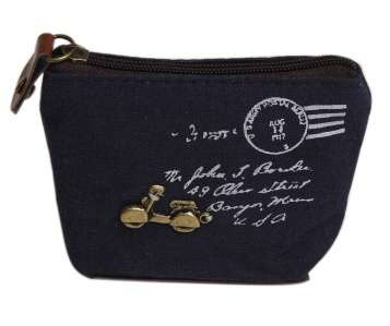 Women Girls Retro Canvas Coin Purse With Different Mental Decorations Change Cards Bag 4 Colors Fashion Wallets-3