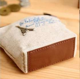 Women Girls Retro Canvas Coin Purse With Different Mental Decorations Change Cards Bag 4 Colors Fashion Wallets-6