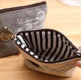 Women Girls Retro Canvas Coin Purse With Different Mental Decorations Change Cards Bag 4 Colors Fashion Wallets-7